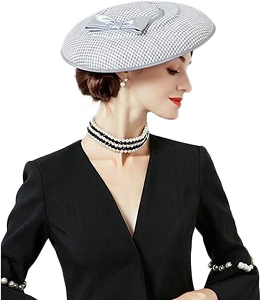 FADVES Fascinator Hats Houndstooth Bow Seattle Mall Brim Pillbox Trust Wide Cocktai