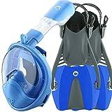 cozia design Snorkel Set with Full Face Snorkel Mask and Travel Adjustable Swim Fins (Blue, Small/Medium)