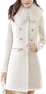 Macondoo Women Casual Wool-Blend Faux Fur Collar Fall/Winter Pea Coats Outwear
