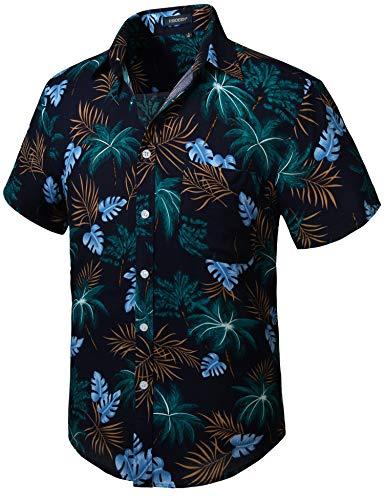 HISDERN Uomo Funky Hawaiana Cocco Camicie Camicia Manica Corta Tasca Frontale Vacanze estive Aloha Stampato Spiaggia Casual Blu Marino Camicia Hawaii S