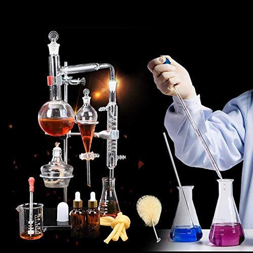 LXNQG Kit De Destilación De Vidrio, 500 Ml, 24 Piezas, Equipo De Destilación Al Vacío, Kit De Vidrio De Laboratorio De Química para La Enseñanza De La Química