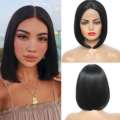 """Sylhair Short Straight Bob Wigs 10"""" Lace Front Wigs for Women Black Wig for Daily Use Heat Resistant Fiber (#1B)"""