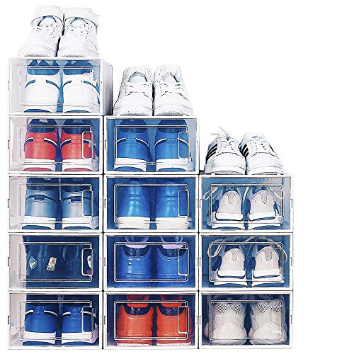 NEATLY Shoe Organizer for Closet - Stackable Shoe Storage Shoe Rack for Entryway - Clear Plastic Shoe Boxes Sneaker Shoe Container Shoe Rack for Closet Under Bed Shoe Storage 12-pack
