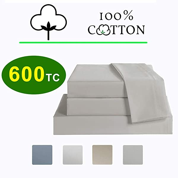 床单套装大号床单套装 4 件套 600 线数 100 长绒棉床上用品套装棉缎编织深口袋透气耐褪色女王银色