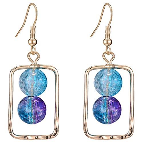 AnXiongStore Pendientes de Plata con Bola de Cristal de Perlas Pendientes de Plata de Ley 925 chapados en Platino Post para Mujeres niñas