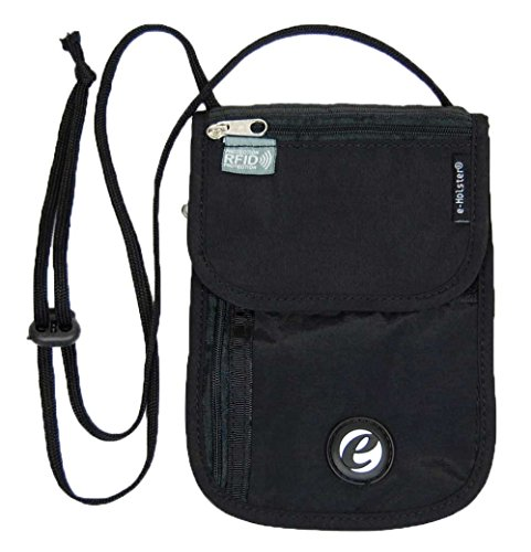 e-Holster Travel Neck Wallet Passport Holder - RFID Blocking Security Sleeve for Documents, Cards, Tickets, Money, Cash - Hidden Organizer Belt Pouch for Men, Women, Family