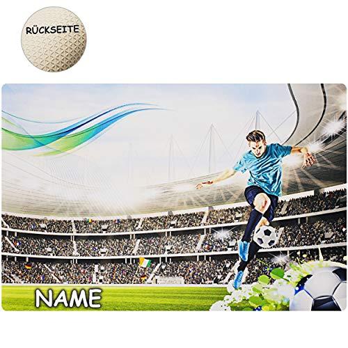 alles-meine.de GmbH Schreibtischunterlage / Unterlage - Fußball - inkl. Name - 60 cm * 40 cm - Soft Touch - rutschfest & antirutsch - Stoff Textil - Tischunterlage / Knetunterlag..