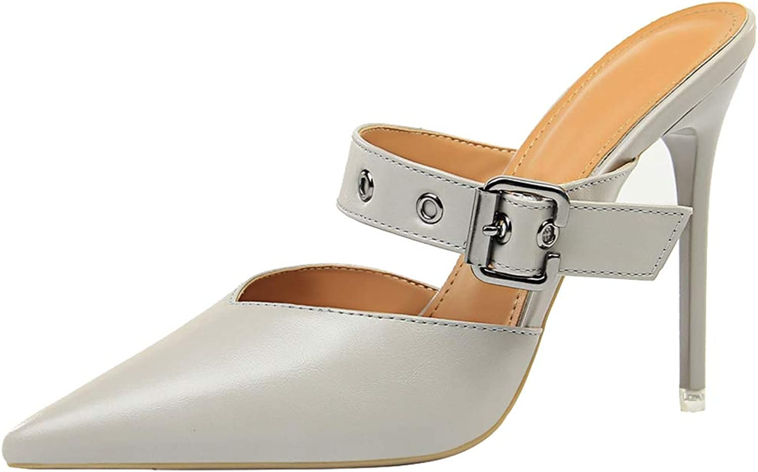 Drew Toby Women Pumps Shallow Pointed Toe Metal Belt Buckle Fashion Solid color Slippers