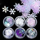 Lurrose - Juego de 12 cajas de lentejuelas para uñas holográficas, copos de nieve, copos de nieve con purpurina para las mujeres