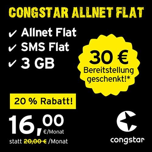 congstar Allnet Flat, SIM, Micro-SIM und Nano-SIM, monatlich kündbar (16,00 Euro/Monat, 3 GB Datenflat mit max. 25 Mbit/s, Allnet Flat und SMS Flat) in bester D-Netz-Qualität