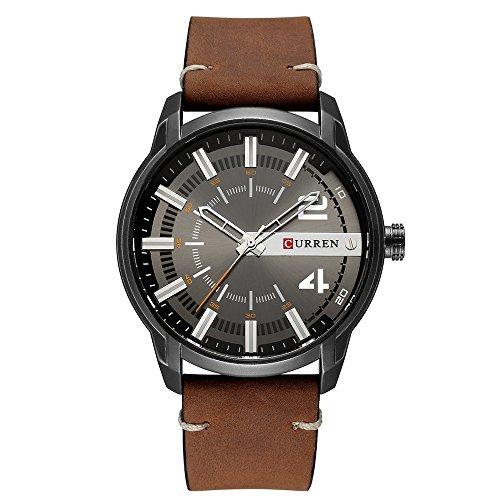 Curren Reloj de pulsera para hombre con esfera redonda analógica correa de cuero reloj de cuarzo casual marrón 8306