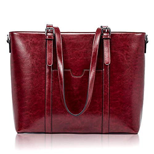 BROMEN Women Briefcase 15.6 inch Laptop Tote Bag Vintage Leather Handbags Shoulder Work Purses Wine Red