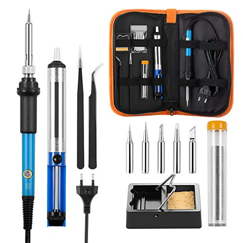 ICONNTECHS Fer à Souder Kit de Soudure 60W 220V à Température Réglable avec 5 têtes à Soudure, Pompe à Dessouder, Support, Fil de Soudure et Mallette de Transport pour Divers Réparation