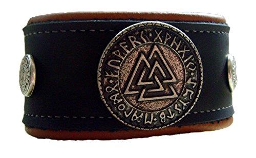 Lederarmband 2 Farbig schwarz -beige Wotansknoten mit Odin Schutz