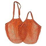 Portable Reusable Grocery Bags for Fruit Vegetable Bag Cotton Mesh String Organizer Handbag Short Handle Net Shopping Bags Tote S-10x35x38cm Orange09