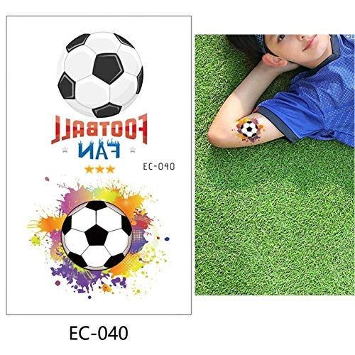 adgkitb 5 stücke Fußball Kinder Temporäre Tätowierung Aufkleber Bunte Gefälschte Tätowierung wasserdichte Kunst Für Kind EC-040 12x7,5 cm