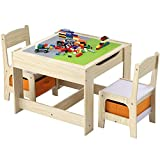 Woderm 3 in 1 Kids Table and 2 Chairs, Build Blocks Tables with Storage Drawers, Double Side Detachable Tabletop Construction Activity Play Desk Chair Sets for Building, Writing, Dining and Playing