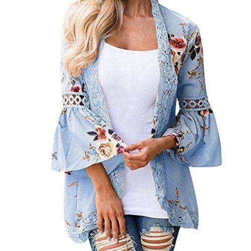VEMOW Herbst Winter Elegante Damen Frauen Lace Floral Öffnen Cape Casual Tägliche Outdoors Mantel Lose Bluse Kimono Jacke Strickjacke(Himmelblau, 50 DE / 3XL CN)