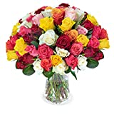50 bunte Rosen - Blumenstrauß – ideale Geschenkidee- Blumenversand - Rosenstrauß - Schnittrosen - 50 cm Länge - 7-Tage-Frischegarantie - 30 cm Durchmesser