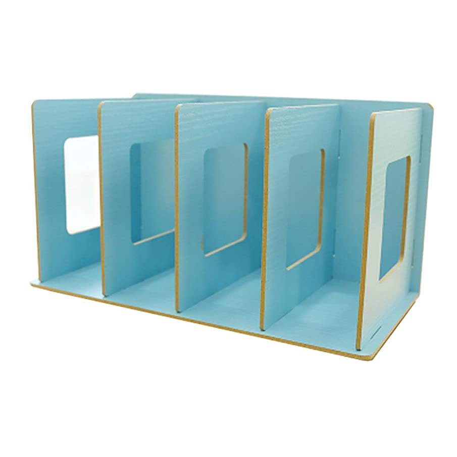 アクティブ準備する医学(Blue) - Trycooling 4 Slots Freestanding DIY Desktop Organiser Rack Wood Board Shelf & Office Supply Holder for CDs/Pens/B...