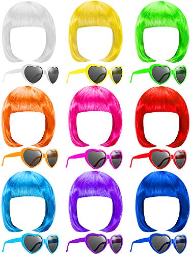 18 Pieces Party Short Bob Wigs and Sunglasses Sets, Neon Bob Wig Sunglasses Pack Colorful Party Cosplay Wig Daily Party Hairpieces for Neon Party Favors Halloween and Decorations