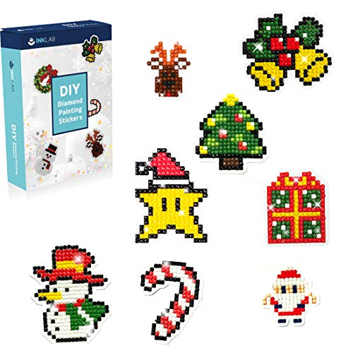 INK LAB 5D Diamond Painting Kit for Kids Christmas Theme Diamond Mosaic Stickers by Numbers Kit DIY Handmade Art Craft for Boys Girls 23pcs