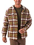 Wrangler Authentics Men's Long Sleeve Quilted Lined Flannel Shirt Jacket with Hood, Olive Night, X-Large