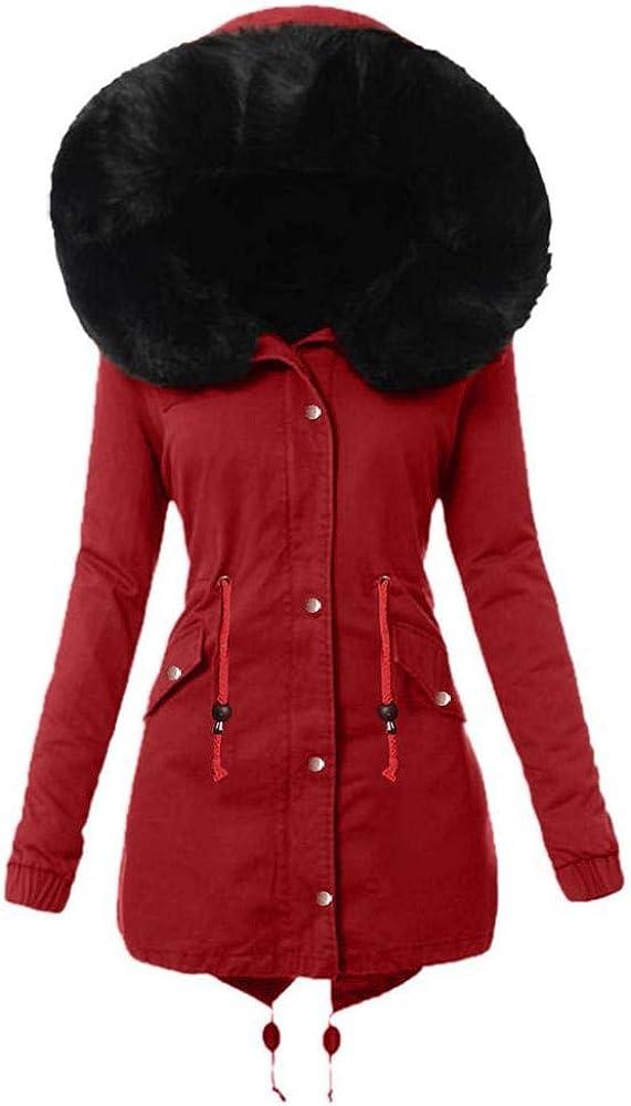 YEBIRAL Wintermantel Damen Winterparka mit Fell Jacke Mantel Parka mit Pelzkapuze Dicker Coat Mantel warm gefüttert Winterjacke #10 Rot