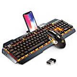 Wireless Gaming Keyboard and Mouse Combo,Orange LED Backlit Rechargeable PC Gaming Keyboard Mouse
