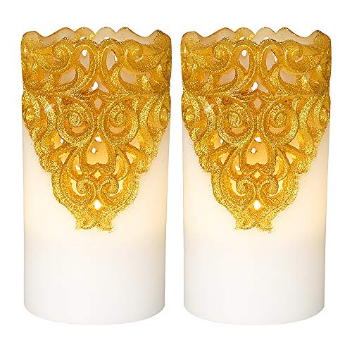 DRomance Hollow Gold Flameless Flickering Candles with 5H Timer, Battery Operated LED Pillar Candles Unscented Wax Warm Light Christmas Home Decoration(Set of 2, 3 x 6 Inches)