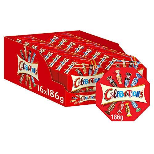 Celebrations Geschenkbox | Mini-Schokoriegel Mix | 16 Packungen in einer Box (16 x 186 g)
