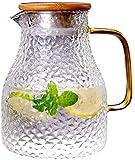 Tetera hervidor de agua de 1,3 l, taza de cristal con tapa y jarra sin fugas de agua, jarra para agua caliente/fría para té y zumo de bebidas con inserto, taza de té 100% sin BPA