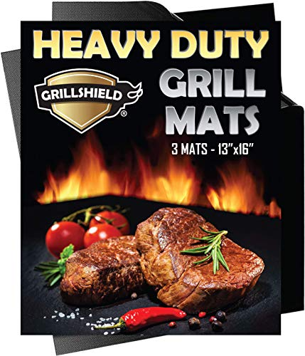 GrillShield - 3 Heavy Duty 600 Degree Grill and Bake Mats - 13 X 16 inches Non Stick Mats for BBQ & Baking, Reusable and Easy to Clean