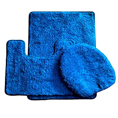 3 Piece Luxury Acrylic Bath Rugs Set Large 18 x 30 Contour Mat 18 x18  and Lid. (Royal Blue )