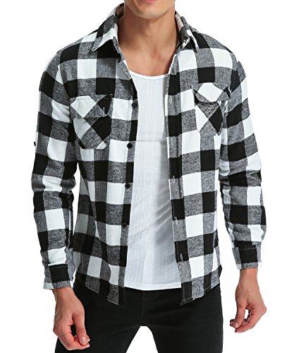 MODCHOK Herren Freizeithemd Langarm Shirt Flanellhemd Karierte Karo-Hemd Oberteile Trachtenhemd Slim Fit Schwarzweiß XL