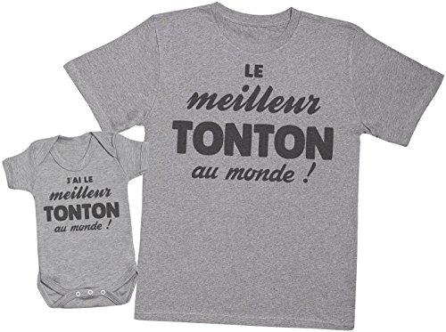 Zarlivia Clothing J'Ai Le Tonton au Monde! - Ensemble Tonton Bébé Cadeau - Gris - M & 6-12 Mois