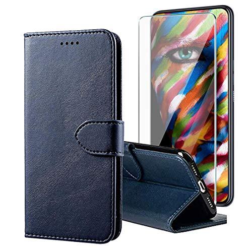 LYJERRY Cover per Nokia X20 Custodia +Pellicola per Nokia X20 Vetro Temperato Flip Caso in PU Pelle Portafoglio Magnetica Porta Carta Kickstand con TPU Antiurto,Blue