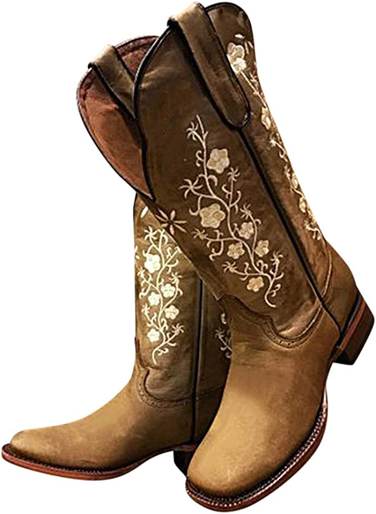 Platform Boots Chunky Don't miss the campaign Block Heel Toe Popularity Floral Square Patte Vintage