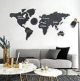 3D Mapa Mundi Pared Grande,Mapa Del Mundo Para Pared ,Decoración De Pared De Mapa Del,Mapas Del Mundo Para La Pared,Viene Con Un Reloj De Pared Cuarto Sala Oficina M(130 * 66Cm) negro