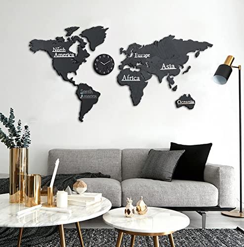 3D Carte Du Monde Murale Carte Du Monde Autocollant Tableau Carte Du Monde Murale,Carte Du Monde En Liege,Livré Avec Une Horloge Murale Bureau De Mur De Fond De Chambre À Coucher De Salon