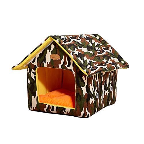 GAOZHEN Casa para Gatos al Aire Libre, Refugio semicerrado para Gatos, Nido Suave para Mascotas al Aire Libre para Perros y Gatos, Tienda de campaña Plegable Impermeable para Mascotas, Camas para ma