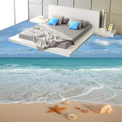 Papel tapiz 3D, moderno, playa, mar, olas, baldosas de suelo, adhesivo mural, baño, dormitorio, PVC, murales autoadhesivos a prueba de agua, Drop-200x140cm