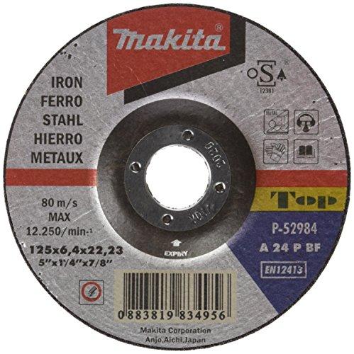 Makita P-52984 P-52984-Disco abrasivo Para desbarbar Metal 125x22,2x6,4 mm, Noir, 60 x 450 mm