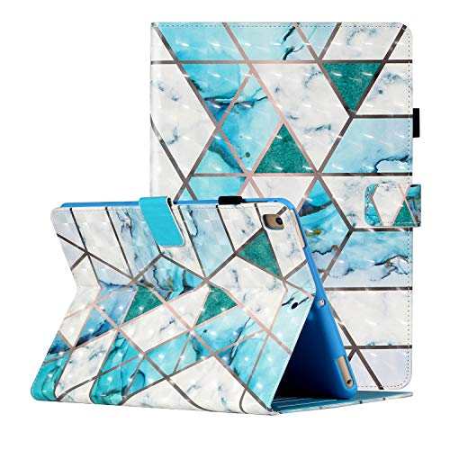 Dteck iPad 6th Gen Case 2018, iPad 5th Gen Case 2017, iPad Air 1 2 Case, 3D Pattened Cover Case Auto Sleep Wake Shockproof Flip Stand Pencil Holder for Apple iPad 9.7' 6th 5th Gen, Blue White Marble