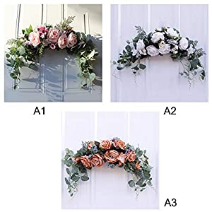 æ— artificial peony flower swag, 24 inch decorative swag with champagne peony rose and eucalyptus leaves for wedding arch front door wall decor silk flower arrangements
