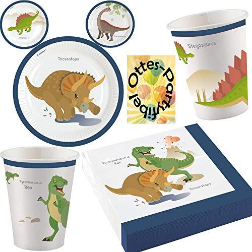 HHO Dino-Saurier-Party-Set Dinosaurier 36tlg. Teller Becher Servietten für 8 Gäste