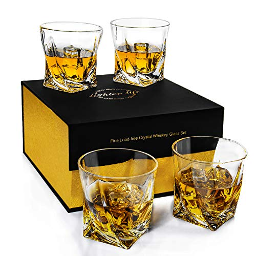 Lighten Life Whiskey Glass Set 4,Twisted 10oz Premium Scotch Glass in Elegant Gift Box,Crystal Old Fashioned Drinking Glasses for Whisky, Scotch, Bourbon,Best Whiskey Gift for Christmas,Birthday