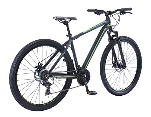 BIKESTAR Hardtail Aluminium Mountainbike Shimano 21 Gang Schaltung, Scheibenbremse 29 Zoll Reifen | 19 Zoll Rahmen Alu MTB | Schwarz Grün