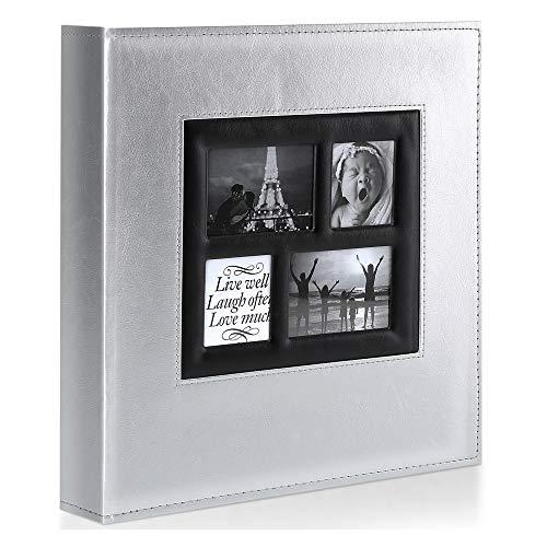 Ywlake Album de Fotos 10x15 600, Grande Tradicional Tipico Original Cubierta de Cuero Album Fotos Horizontal y Vertical para la Boda de la Familia (Plata, 600 Fotos)