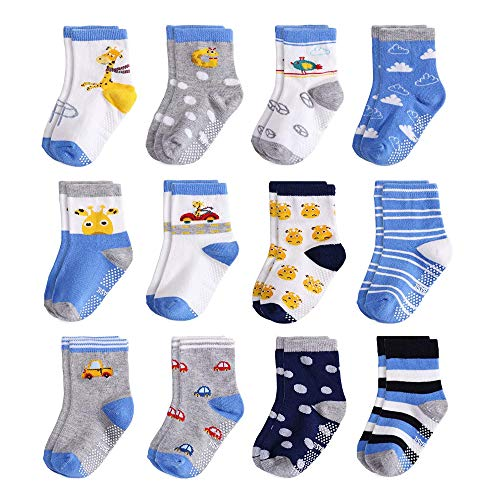 Yafane 12 Paar Baby Socken Antirutsch Anti-Rutsch Neugeborenes Kinder Kleinkinder Babysocken Rutschfest für Baby Jungen und Mädchen (Blau, 0-12 Monate)